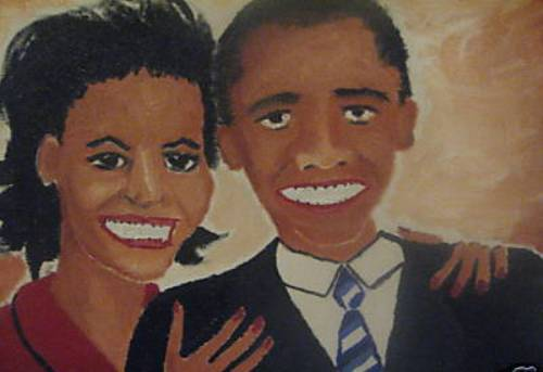 amateurobamamichelleteethbadart Bad Obama Art