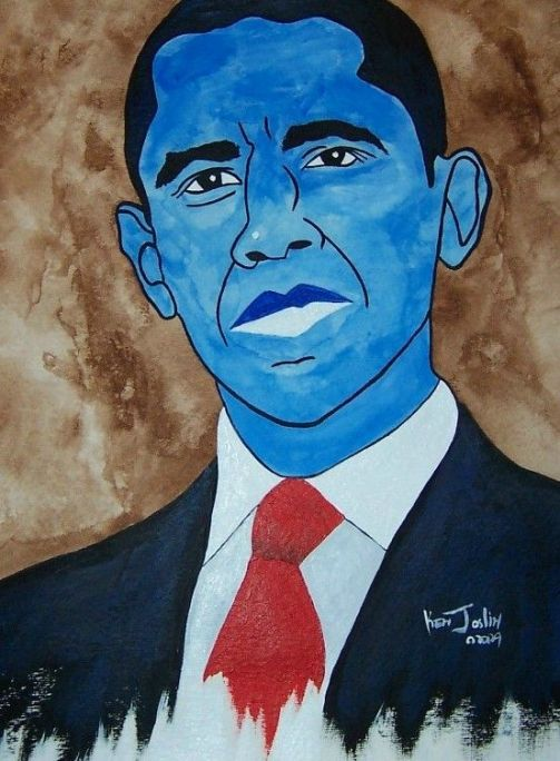 bluefacebadobamaartportrait Bad Obama Art