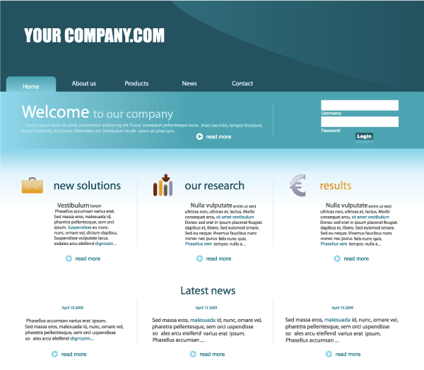 vector website template Business website template